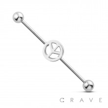 PEACE MARK 316L SURGICAL STEEL INDUSTRIAL BARBELL