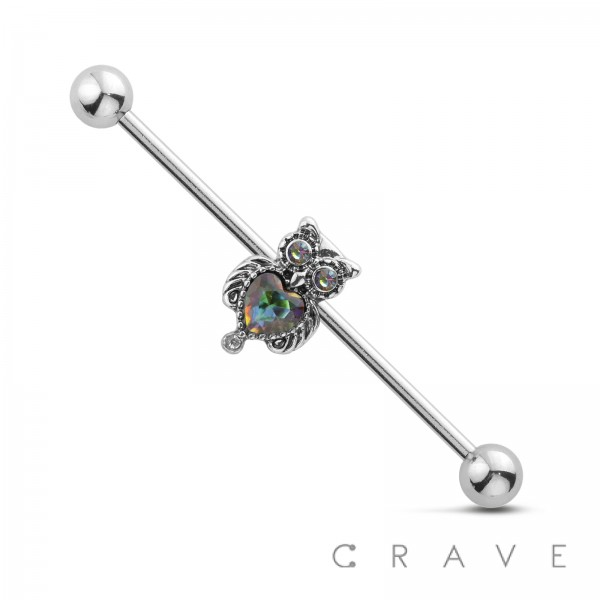 HEART CZ CENTER CUTE OWL 316L SURGICAL STEEL INDUSTRIAL BARBELL