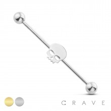 SKULL 316L SURGICAL STEEL INDUSTRIAL BARBELL