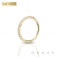 14 KARAT GOLD SIDE GEM PAVED FRONT HINGED SEGMENT RING FOR SEPTUM, HELIX, TRAGUS, CAPTIVE
