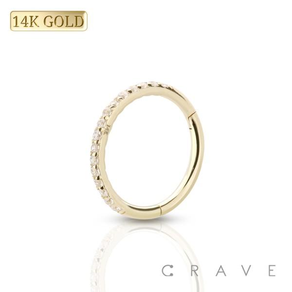14 KARAT GOLD SIDE GEM PAVED CROSS FRONT HINGED SEGMENT RING FOR SEPTUM, HELIX, TRAGUS, CAPTIVE