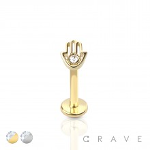 316L SURGICAL STEEL INTERNALLY THREADED LABRET HAND WITH GEM