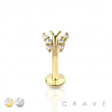 BUTTERFLY TOP (ALLOY) INTERNALLY THREADED 316L SURGICAL STEEL LABRET/MONROE WITH PRONG SET CZ STONES