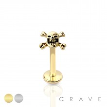 SKULL CROSSBONES (ALLOY) INTERNALLY THREADED 316L SURGICAL STEEL LABRET/MONROE WITH PRONG SET CZ STO
