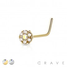"""316L SURGICAL STEEL NOSE """"L""""BEND W/ PRONG SET CZ CENTERED GEM PAVED OUTTER CIRCLE 6 POINT FLOWER"""