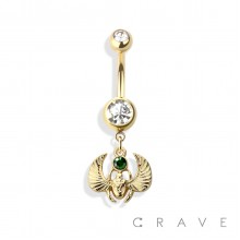 SCARAB 316L SURGICAL STEEL DANGLE NAVEL RING