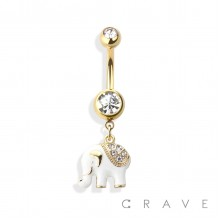 LUCKY ELEPHANT 316L SURGICAL STEEL DANGLE NAVEL RING (ANIMAL)