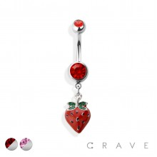 STRAWBERRY 316L SURGICAL STEEL DANGLE NAVEL RING (FRUIT)