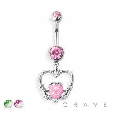 HANDS HOLDING OPAL HEART WITHIN A HEART DANGLE 316L SURGICAL STEEL NAVEL RING