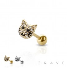 GEM PAVED CAT 316L SURGICAL STEEL CARTILAGE, EAR CUFF BARBELL (ANIMAL)