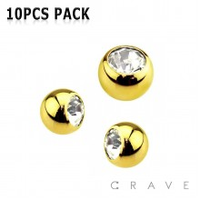 10PCS OF GOLD PLATED OVER 316L SURGICAL STEEL THREADED GEM BALLS PACKAGE