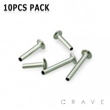 10PCS OF 316L SURGICAL STEEL INTERNALLY THREADED LABRET BAR PACKAGE