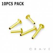 10PCS OF GOLD PVD PAVED 316L SURGICAL STEEL INTERNALLY THREADED LABRET BAR