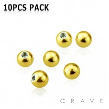 10PCS OF GOLD PLATED OVER 316L SURGICAL STEEL BASIC PLAIN THREADED BALLS PACKAGE