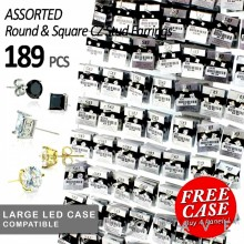 189PCS OF ASSORTED 316L STAINLESS STEEL PRONG ROUND & SQUARE CZ STUD EARRINGS PANEL