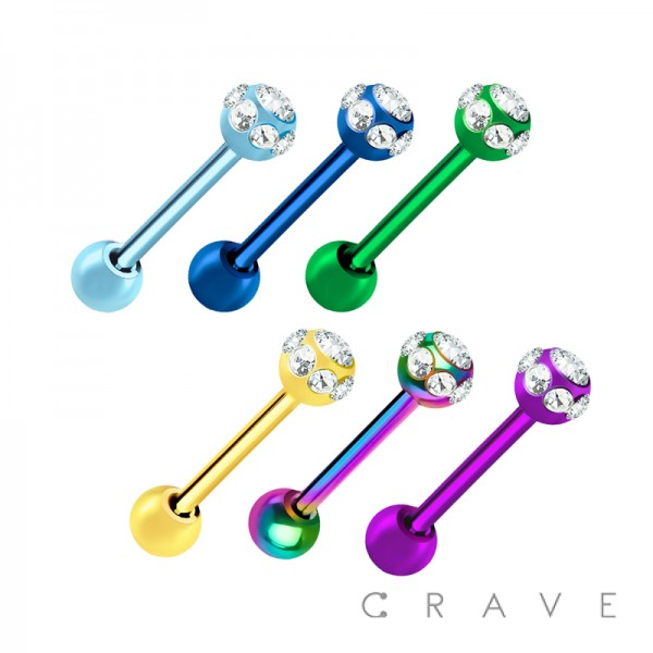 PVD PLATED 316L SURGICAL STEEL BARBELL WITH 7STONES MULTI GEM BALLS