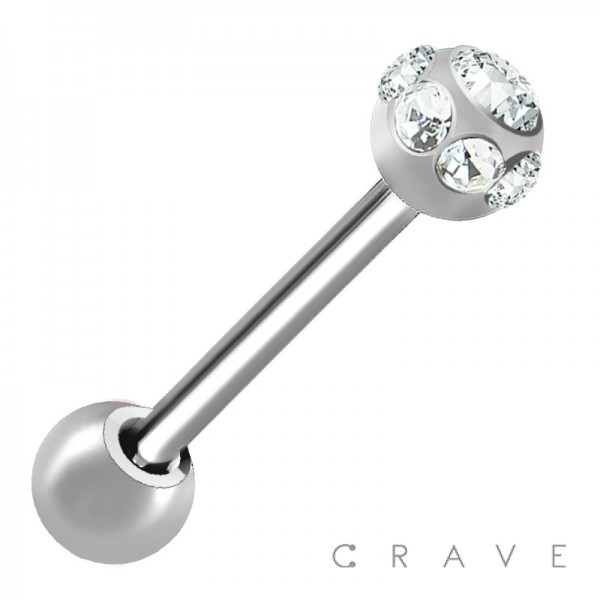 316L SURGICAL STEEL BARBELL WITH 7STONES MULTI GEM BALLS