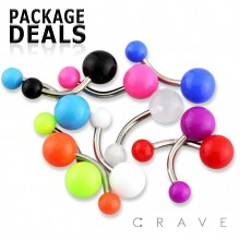 100PCS OF ASSORTED UV SOLID COLOR ACRYLIC BELLY RING PACKAGE