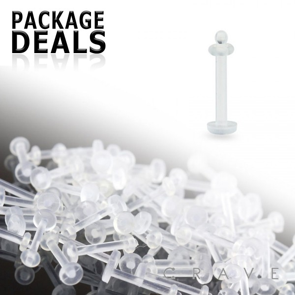 100PC PACKAGE OF 18GA AND 14GA CLEAR BIOFLEX LABRET SILICON RETAINERS