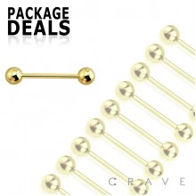 100PCS OF GOLD PVD PLATED OVER 316L SURGICAL STEEL TONGUE BARBELL PACKAGE 5MM BALL