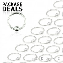 100pcs of 16GA  316L Surgical Steel Captive Bead Ring Package