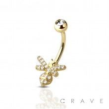 CZ BEE 316L SURGICAL STEEL NAVEL RING