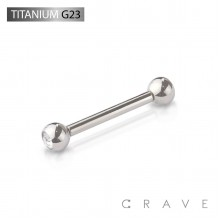 GRADE 23 SOLID TITANIUM INTERNALLY THREADED BARBELLS WITH PRESS FIT DOUBLE GEM