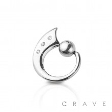 316L SURGICAL STEEL GEM PAVED WITH CAPTIVE BALL TAPER