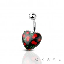 ACRYLIC BLACK CHERRY HEART 316L SURGICAL STEEL BAR BELLY RING