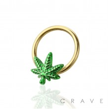 GOLDEN CANNABIS LEAF 316L SURGICAL STEEL CAPTIVE BEAD RING