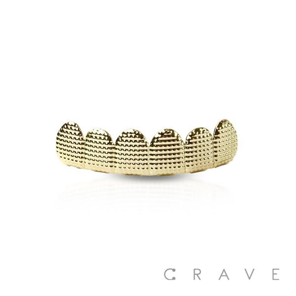 DOTTED TEXTURE 6 TEETH MOUTH TOP & BOTTOM HIP HOP BLING GRILLZ