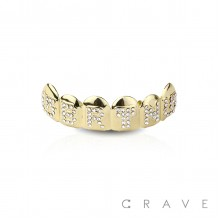 GEM PAVED  GOLD PLATED 6 TEETH MOUTH TOP HIP HOP BLING GRILLZ