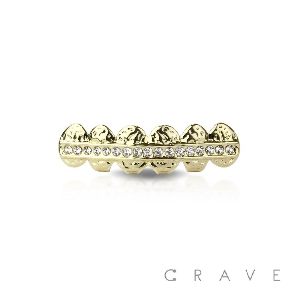 1 ROW LINE GEM DEBOSSED  GOLD PLATED 6 TEETH MOUTH BOTTOM HIP HOP BLING GRILLZ