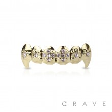 VAMPIRE GOLD PLATED 6 TEETH MOUTH TOP HIP HOP BLING GRILLZ