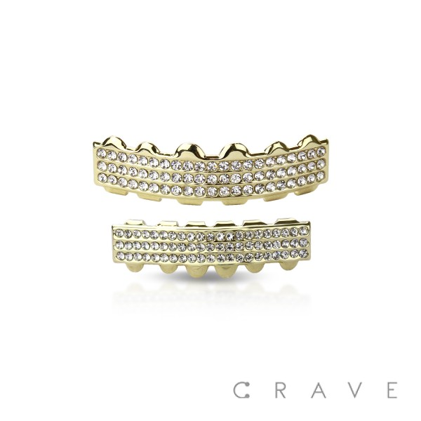 3 (THREE) ROW LINES GOLD PLATED 6 TEETH MOUTH TOP & BOTTOM HIP HOP BLING GRILLZ