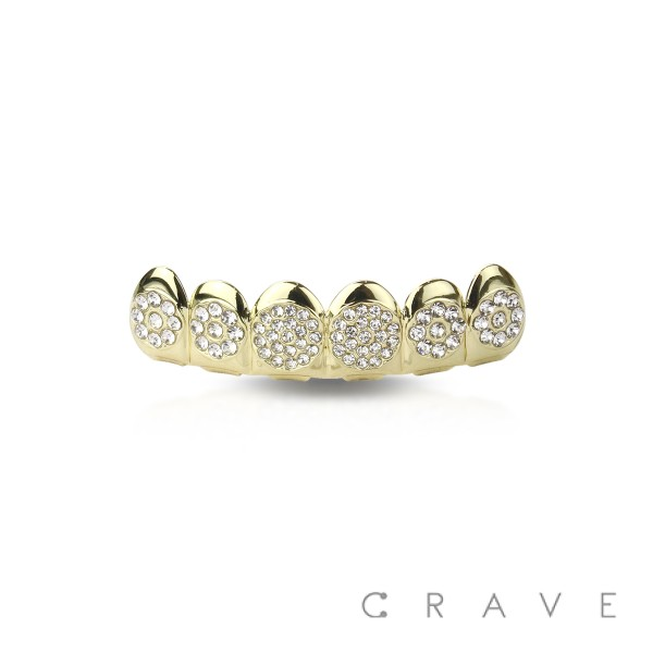 ROUND GEM PAVED GOLD PLATED 6 TEETH MOUTH TOP HIP HOP BLING GRILLZ