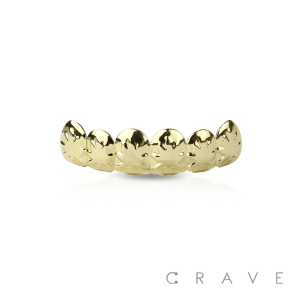 MARIJUANA ENGRAVED GOLD PLATED 6 TEETH MOUTH TOP HIP HOP BLING GRILLZ