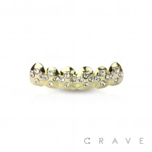 CROSS GOLD PLATED 6 TEETH MOUTH TOP HIP HOP BLING GRILLZ