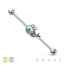 GLITTER WHALE 316L SURGICAL STEEL INDUSTRIAL BARBELL