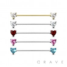 HEART CZ PRONG SET 316L SURGICAL STEEL INDUSTRIAL BARBELL