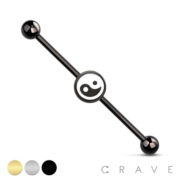 YING YANG 316L SURGICAL STEEL INDUSTRIAL BARBELL