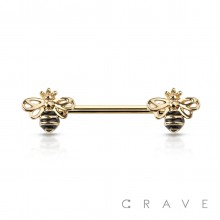 QUEEN BEE ENDS 316L SURGICAL STEEL NIPPLE BAR