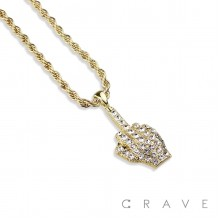 GEM PAVED MIDDLE FINGER HIP HOP BLING ALLOY PENDANT WITH CHAIN