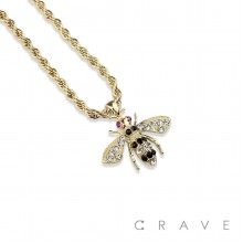 GEM PAVED QUEEN BEE HIP HOP BLING ALLOY PENDANT WITH CHAIN