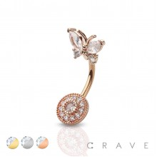 CZ BUTTERLFY WITH ROUND CZ TOP 316L SURGICAL STEEL NAVEL RING