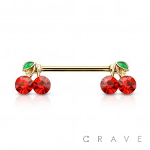 CHERRY ENDS 316L SURGICAL STEEL NIPPLE BAR