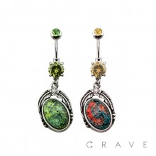 316L SURGICAL STEEL PRONG SET ACRYLIC STONE TRIBAL LEAF DANGLE NAVEL RING