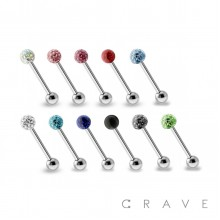 316L SURGICAL STEEL CRYSTAL PAVED EPOXY FERIDO BALL TONGUE BARBELL