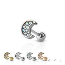 316L SURGICAL STEEL CARTILAGE BARBELL WITH GEM PAVED CRESCENT MOON