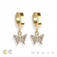 PAIR OF 316L STAINLESS STEEL HUGGIE/HOOP EARRINGS WITH ALLOY CZ PAVED BUTTERFLY DANGLE